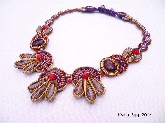 Purple Pigeon Soutache Necklace