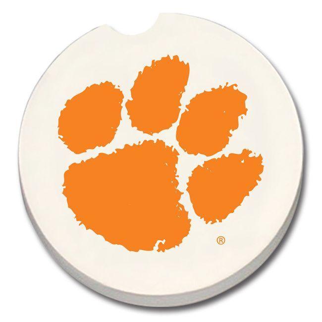 Clemson Tigers Absorbent Stone Car Coaster (Set of 2) (Collegiate), Multi (Stoneware)
