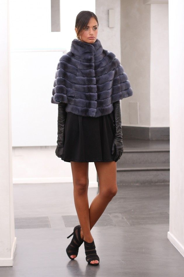 Female Mink Fur Jacket with whole skins. Made in Italy. Skins Quality: Kopenhagen Fur Platinum; Color: Blue Denim; Closure: With Hooks; Collar: Round; Lining: 100% Satin; Lining Color: Fantasy, Multicolor; Length: 47 cm; #elsafur #fur #furs #furcoat #coat #mink #minkcoat #cappotto #peliccia #pellicce