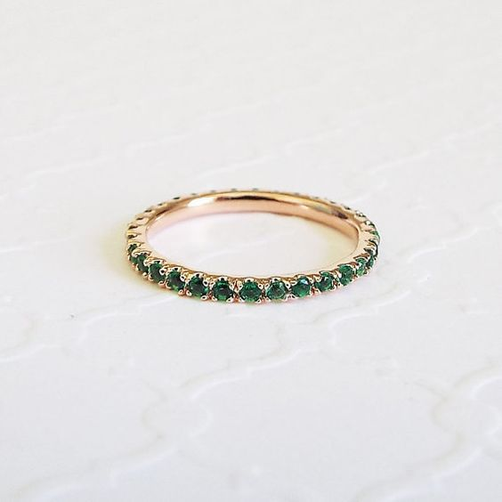CZ Emerald Green Rose Gold 1.5 mm thin pave Stacking Band Emerald eternity ring Gift for Mom Gift for sister Gift for girlfriend
