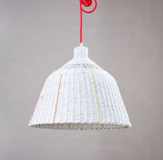 Industrial hanging eco paper lamp Minimal by BarborkaDesign