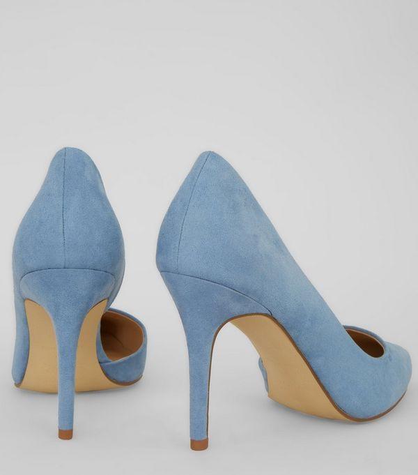 Light Blue Suedette Pointed Court Shoes