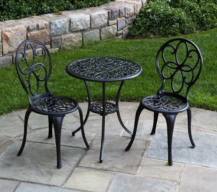 Outdoor Black Classic Stained Steel Bistro Set Cheap Patio Sets With Best  Material