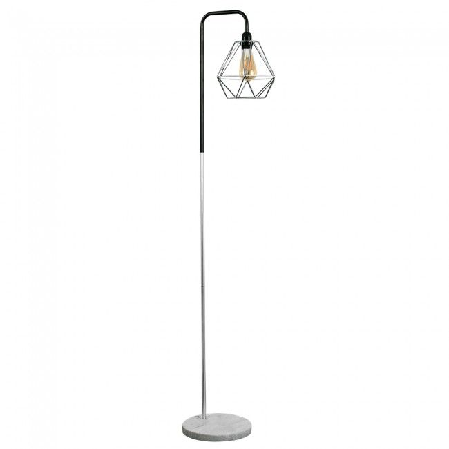 Industrial Style 'Talisman' Brushed Chrome Floor Lamp with White Marble Base and Chrome Geometric Shade