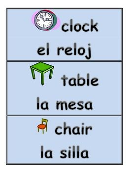 Posters like this around the ELL classroom can be very helpful for the students. This poster not only shows pictures of the clock, table, and chair, but it also gives both the Spanish and English words below it, which is helpful for the learning students. For beginner ELL's who may not have any experience with the English language, seeing a picture of an object and the word can help them to remember it and learn it.
