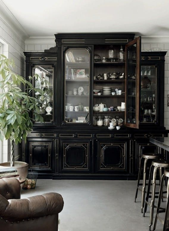 A Healthy Dose of Drama: Kitchens that Use Antique Furniture in Lieu of Wall-Hung Cabinets  – * INTERIOR DESIGN CHANGING WEEKLY *