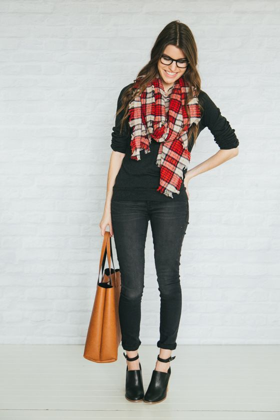 Fall - dark denim (skirt?), dark gray sweatshirt, black ankle booties, plaid scarf