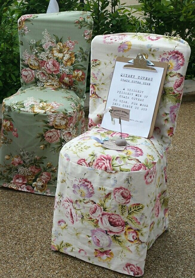 Summer vintage print fabric  chair cover hire