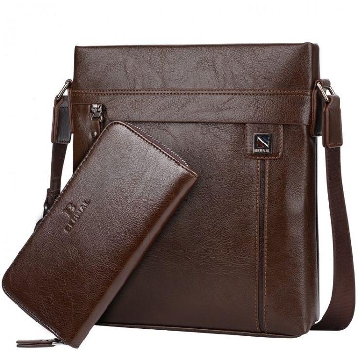2016 New fashion men bags leather business travel messenger bag Brand Design men's shoulder bag  2 colorsLeather Bags