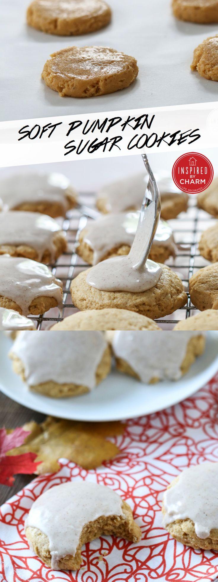 These are SOOO good! Bursting with pumpkin goodness. Soft Pumpkin Sugar Cookies via @InspiredbyCharm #IBCFallCookieWeek