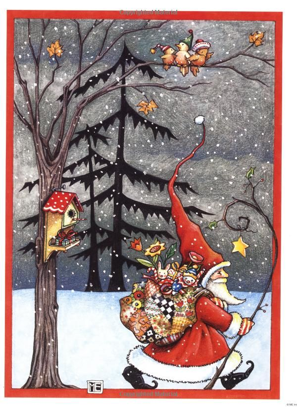 "from ""Mary Engelbreit Poster Book: Christmas Classics""  I love this depiction of Santa as a traveler on a mission of kindness."