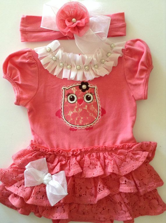 Newborn Baby Girl Take Me Home Outfit Pink Owl Lace