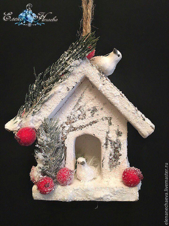 """Купить Новогодняя композиция """"Милый дом2"""" Новогодняя подвеска - белый, красный, зеленый, подарок на новый год"""
