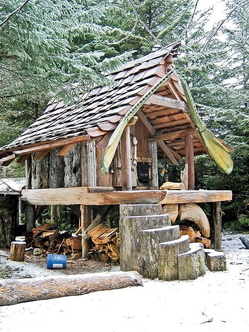 Some one with a creative mind made this cabin.  Cabin Designs: Build the Best Cabin for Your Lifestyle From logs to straw bales to metal, the materials you choose will play a determining ...
