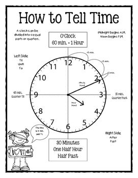 How to Tell Time Poster   Student, To tell and Hands