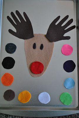 Colour play with a felt Rudolph
