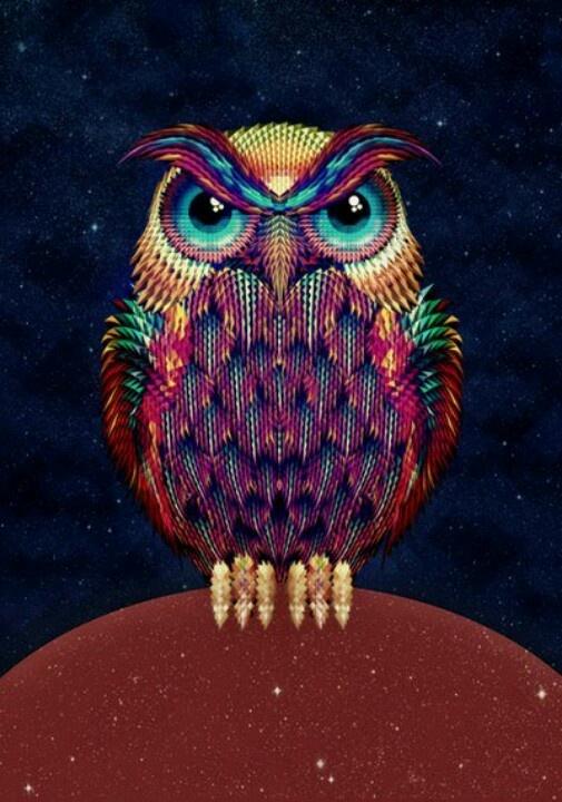 Hermoso dibujo de un buho para quien gusta de los colores   Búhos ...