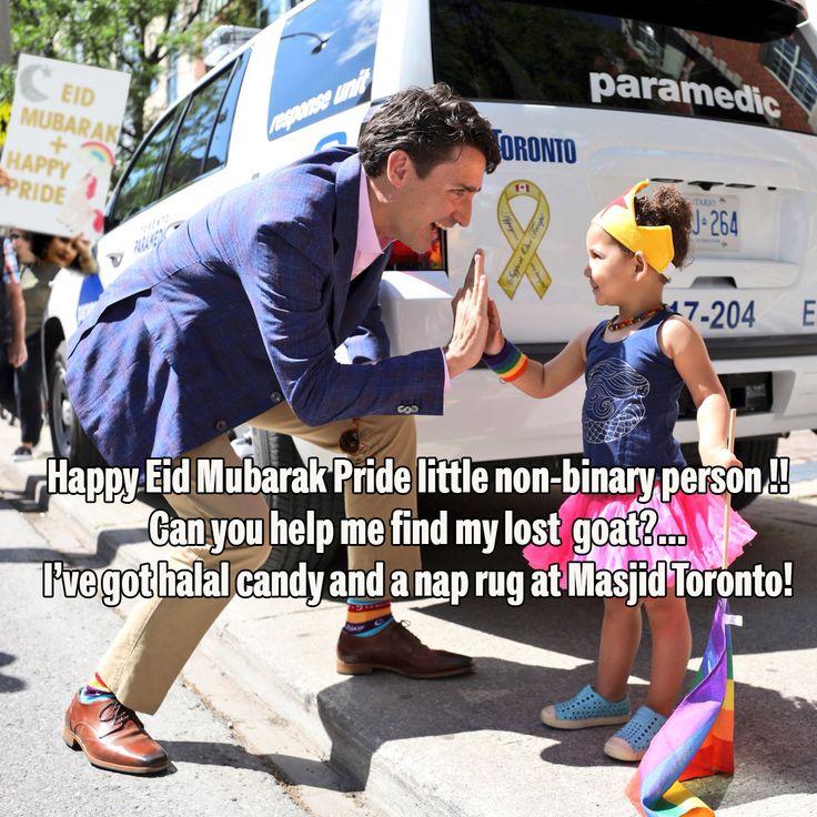 Justin Turdeau wishes little girl a Happy Eid Mubarak Pride. Turdeau is wearing Eid Halal socks to a gay parade.