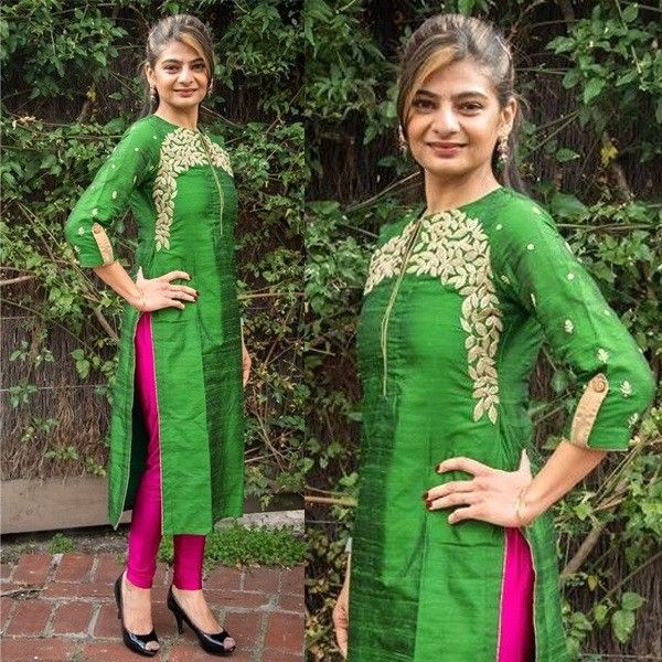 Cotton+Thread+Work+Green+Semi+Stitched+Churidar+Suit+-+1614 at Rs 1199