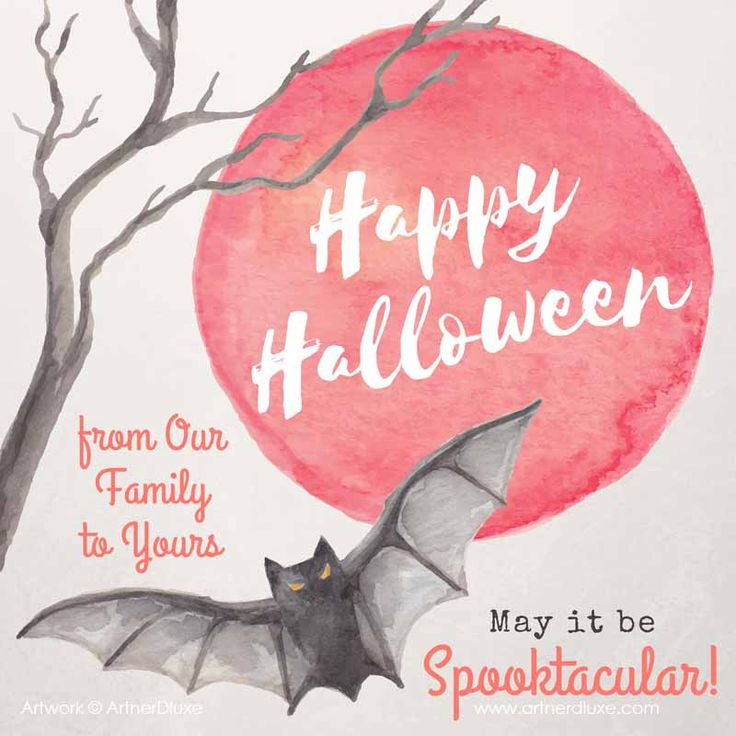 Easy DIY Happy Halloween social media greeting template with a spooky bat and full moon. Created by ArtnerDluxe in Canva. Customize your own version @ https://www.canva.com/artnerdluxe. Art elements © ArtnerDluxe www.artnerdluxe.com