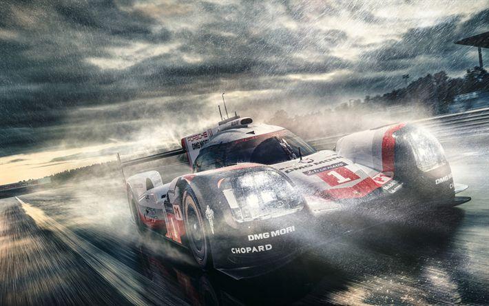 Download wallpapers Porsche 919 Hybird, 2018 cars, supercars, rain, racing cars, Porsche