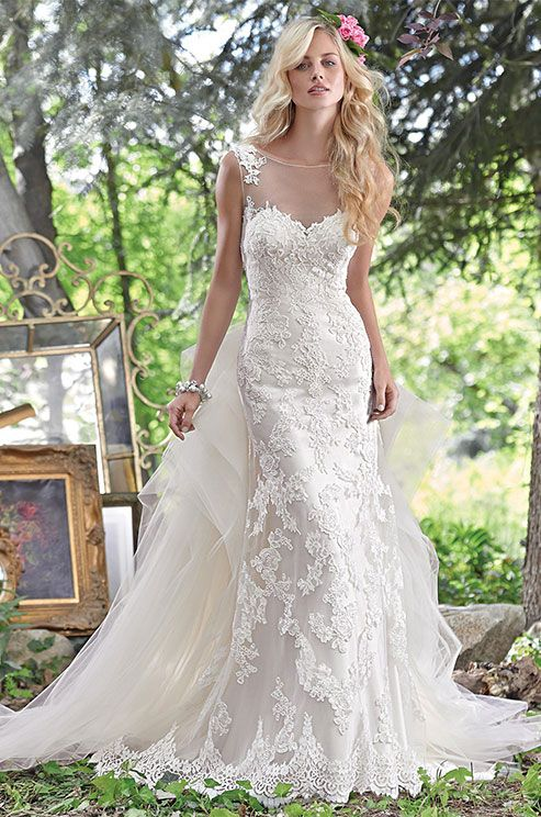 253 best illusion wedding dresses images on pinterest wedding embroidered lace appliqus adorn this stunning sheath wedding dress with a breathtaking illusion lace back junglespirit Choice Image