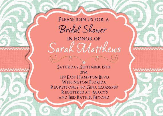 Mint Damask Bridal Shower Invitation Wedding Shower Mint and Coral Printable Custom Invite