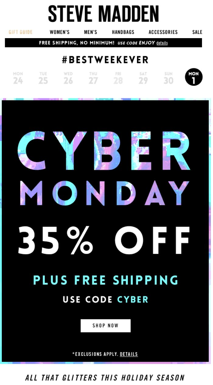 Steve Madden Cyber Monday Ad - Page 1