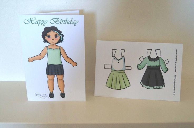 (8) Name: 'Paper Crafts : Paper Doll Birthday Card In Fern