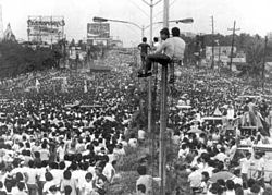 During the height of the revolution, an estimated one to three million people filled EDSA from Ortigas Avenue all the way to Cubao.