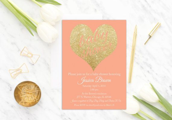 Coral Peach Baby Shower Invitation Printable by PucciPrintables