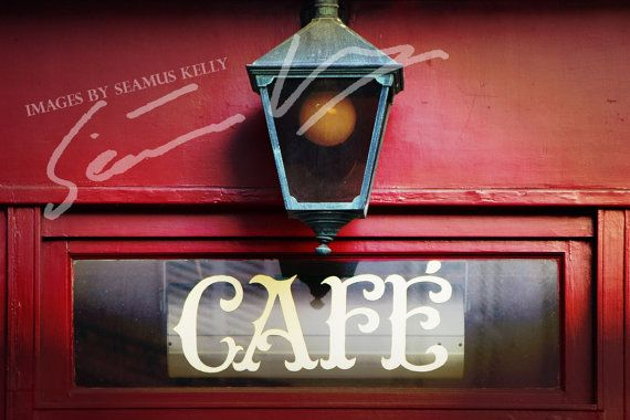 Café sign with lamp Paris France Photograph by ImagesBySeamusKelly