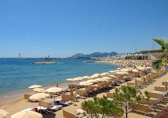 Image of the Croisette beach in Cannes and the Mediterranean Sea