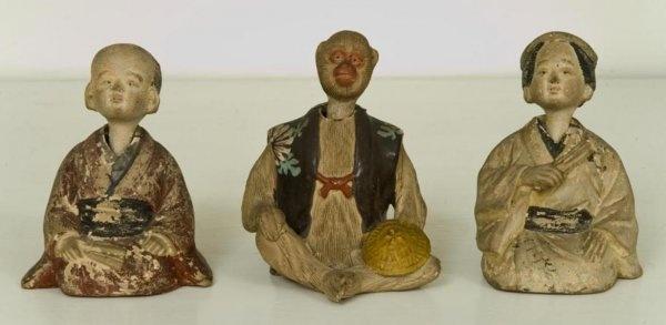 antique Japanese pottery nodding figures: Antiques Inspiration, Pottery Nod, Antiques Japanese, Vintage Figurines, Japanese Pottery, Nod Figurines, Gardens Stuff, Japan Pottery, Nod Figures