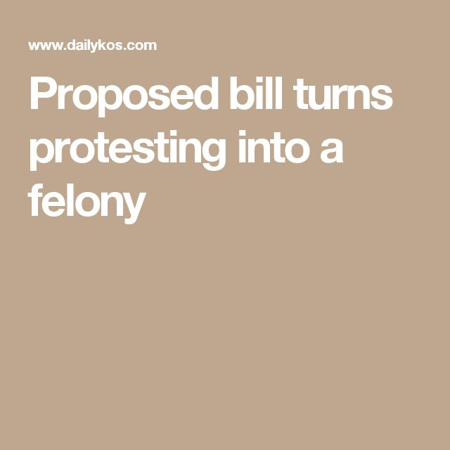 Proposed bill turns protesting into a felony