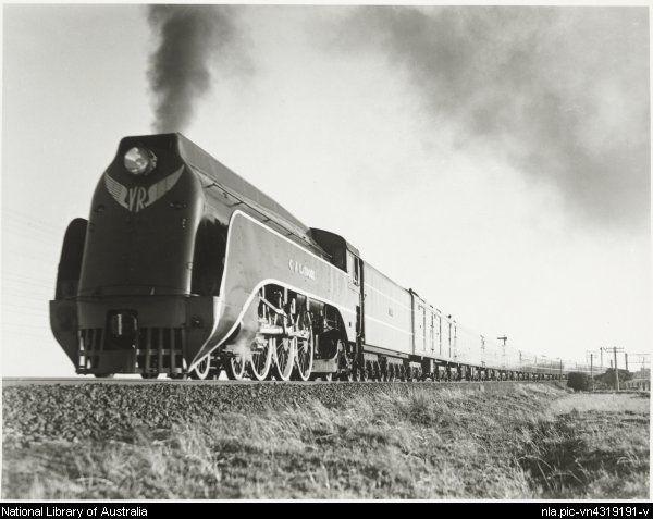 Locomotive number S303, C.J. Latrobe, hauling the Spirit of Progress express, Victoria [?], ca. 1940
