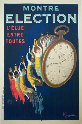 """Leonetto Cappiello Art Deco """"Election"""" montre/watch poster, Ca. 1925"""