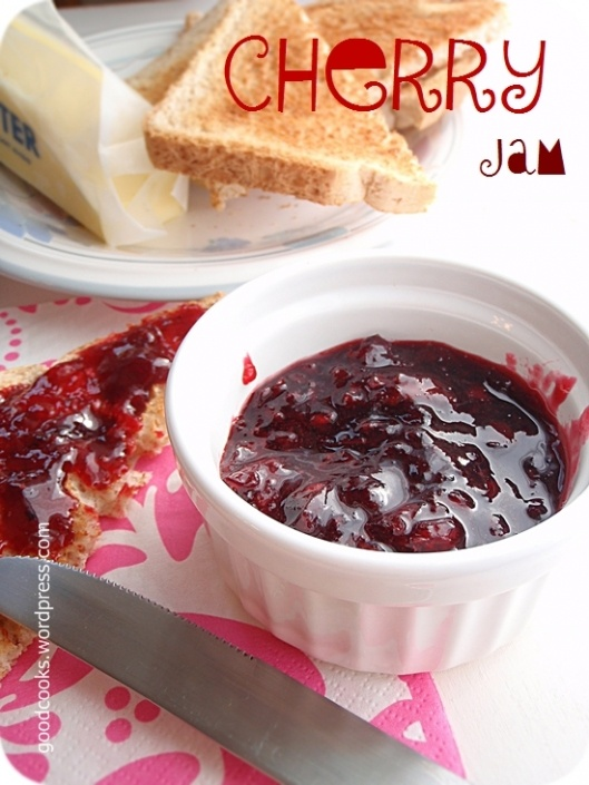 Sweet Black Cherry Jam this is tomorrows project. Bought 6 lbs black cherries at the city market for 3.00 a lb. expect to get 24 1/2 pts. Tried this recipe last week while in Ca. Did not chop the cherries.