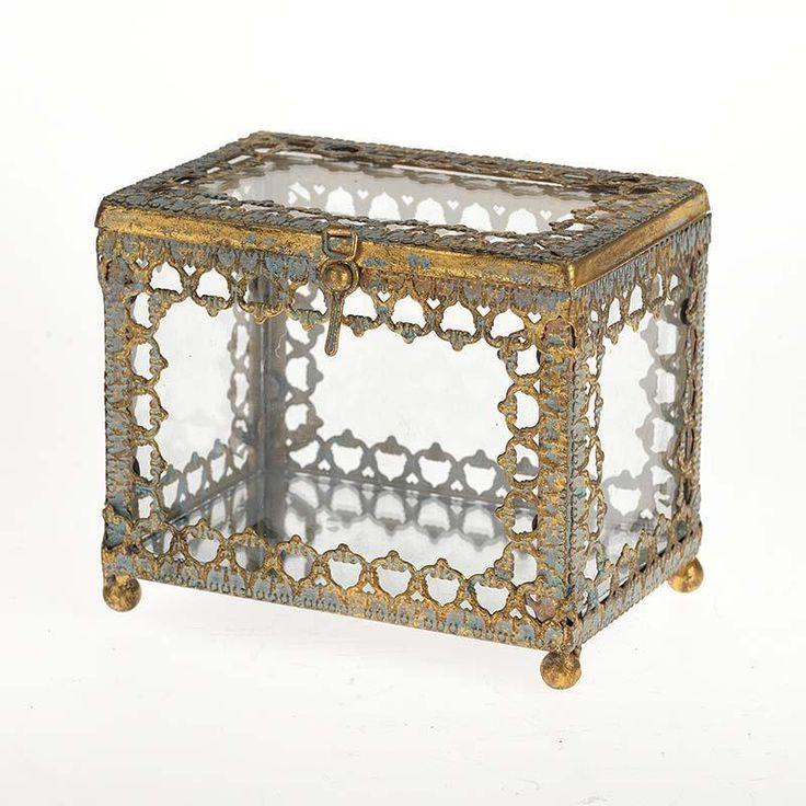 Metal glass - box in #antique in #gold & blue. www.inart.com