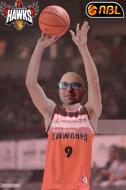 Benjamin Hay -That's ME - of the Illawarra Hawks shoots a three-pointer in a game during the 2016-2017 National Basketball League season (FAKED)