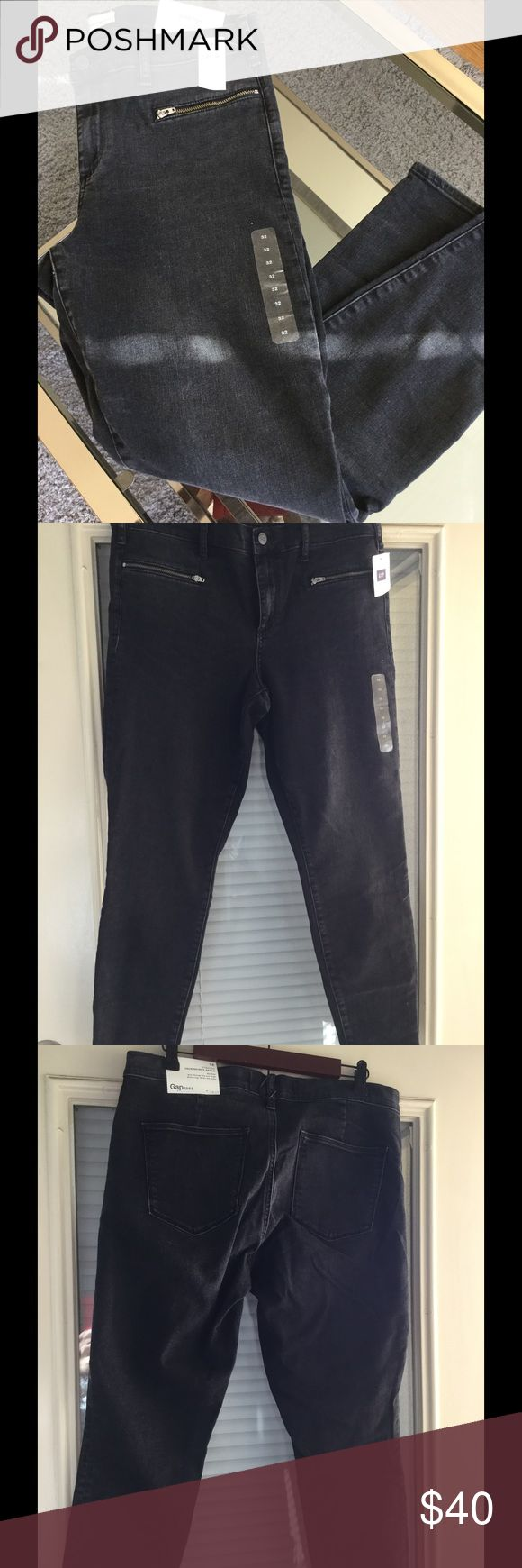 GAP 1969 Stretch True Skinny ankle Jeans Black True skinny ankle jeans. They are mid rise, slim through hip and thigh, skinny leg. skims the ankle. It has 2 pockets with zippers in the front and 2 pockets at the back. A medium stretch fabric designed to define your shape. GAP Jeans Ankle & Cropped