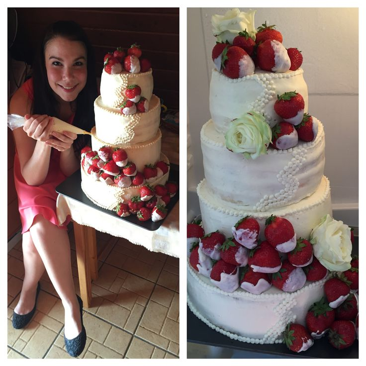 My first cake! Wedding cake with strawberries