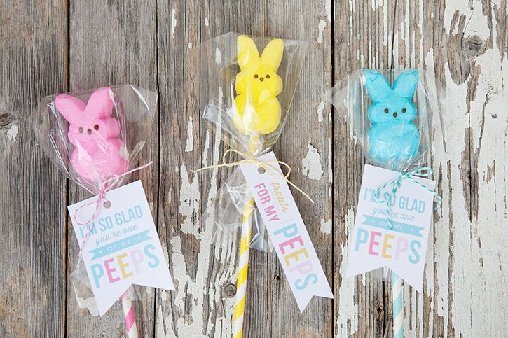 Peeps Pops with Free Printable Easter Gift Tags - sweet, simple Easter treat for any of my peeps! (family, friends, students...)