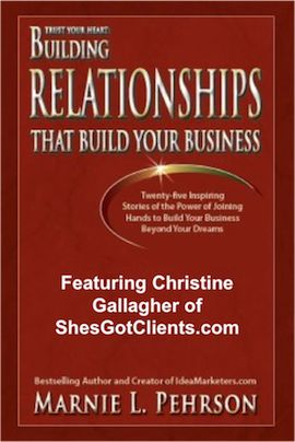 Want to Know How to Connect with Marketers Who Want to Promote You? Through my company ShesGotClients.com I teach women entrepreneurs how to use authentic relationship marketing and online strategies to attract raving fans, enroll more clients, and enjoy more income and freedom in their business.