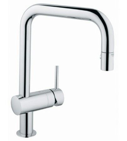 Grohe 32319000 Starlight Chrome Minta Pull Out Spray Kitchen Faucet