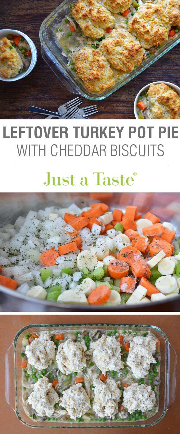 Leftover Turkey Pot Pie with Cheddar Biscuit Crust recipe via justataste.com