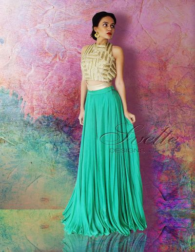 gold crop top, turquoise lehenga skirt, brides best friend, brunch, cocktail, roka, welcome dinner, pool party, georgertte, crinkled, brides friends, vibrant