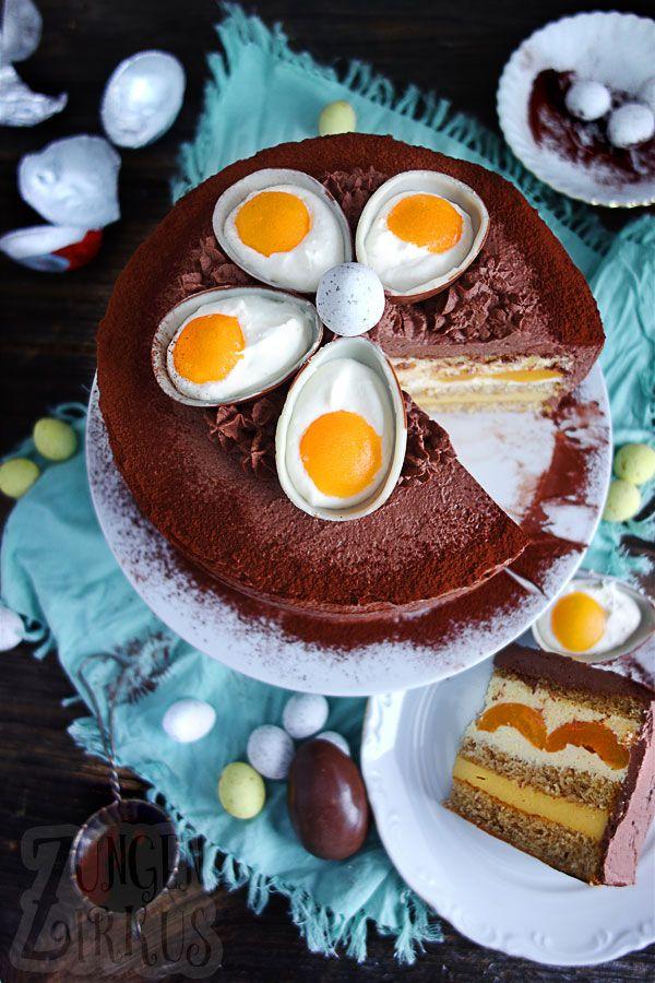 Wunderschöne Ostertorte/Eierlikörtorte mit einfach genialer Deko! Mit Aprikosen und Kakaosahne, perfekt für die Ostertafel! www.zungenzirkus.de