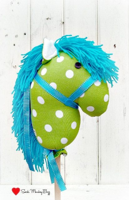 Stick Horse Hobby Horse Big Top Circus Turquoise by SockMonkeyBizz, $38.50