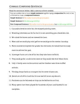 Comma Practice Packet: Updated | Sentences and Worksheets